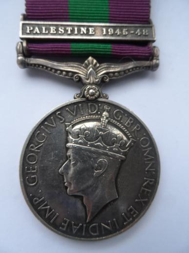 GENERAL SERVICE MEDAL-CLASP PALESTINE 1945-48 TO LT JAMES McMEEKIN YOUNG McCOLM