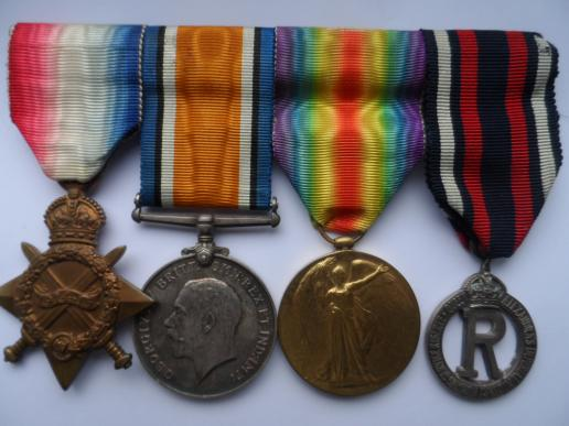 1914/15 STAR TRIO AND CAPE BADGE-TO SISTER GIBBS-QUEEN ALEXANRA'S IMPERIAL MILITARY  NURSING SERVICE RESERVE